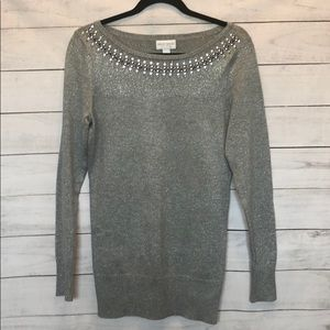 Embellished silver/gray sweater